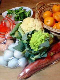 青い卵と変わった野菜